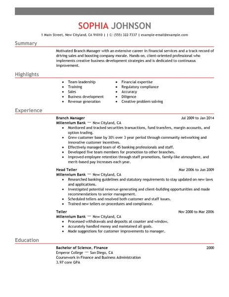 best branch manager resume example from professional resume writing service