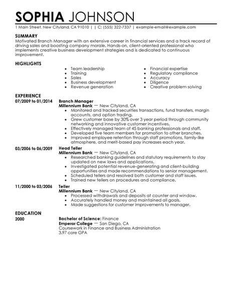 best branch manager resume example from professional