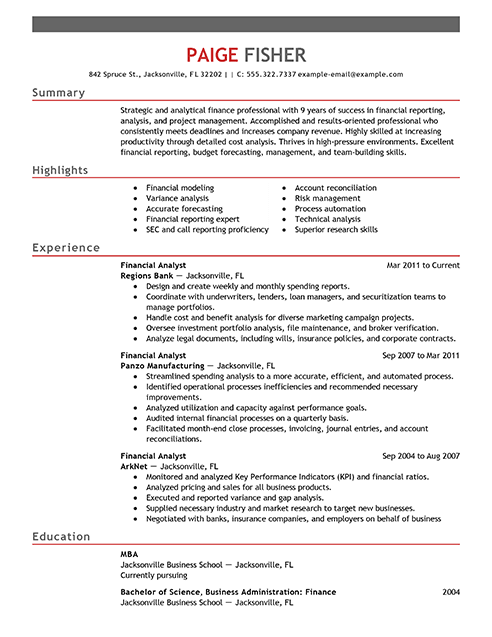best financial analyst resume example from professional resume writing service