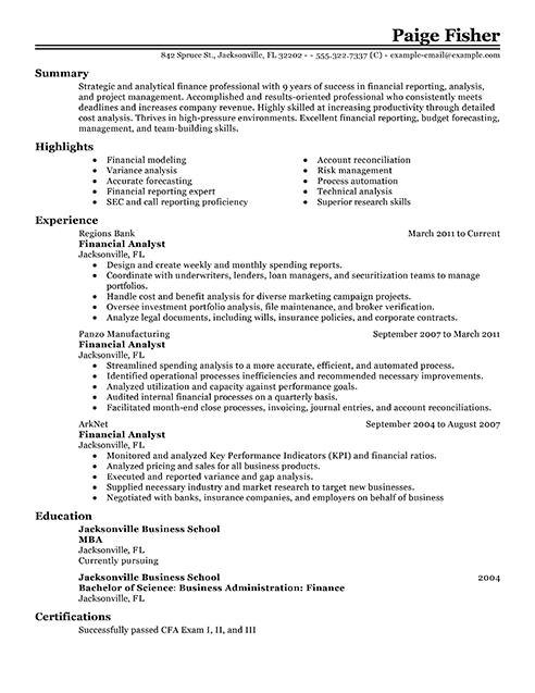 best financial analyst resume example from professional