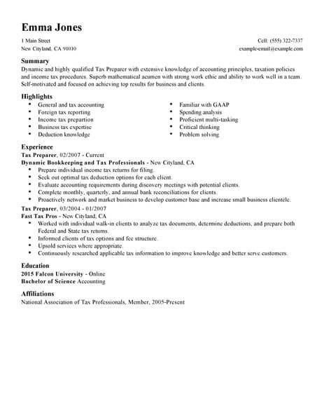 Best Tax Preparer Resume Example From Professional Resume