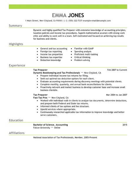 best tax preparer resume example from professional resume writing service