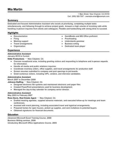 best administrative assistant resume example from professional