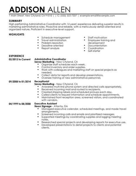 Best Administrative Coordinator Resume Example From Professional ...