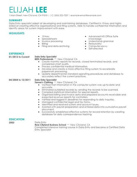 best data entry resume example from professional resume
