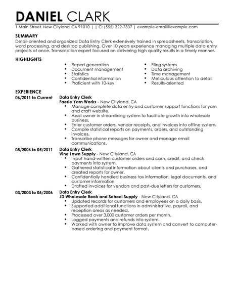 best data entry clerk resume example from professional