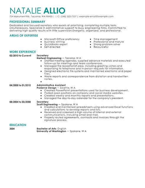 Best Secretary Resume Example From Professional Resume Writing Service