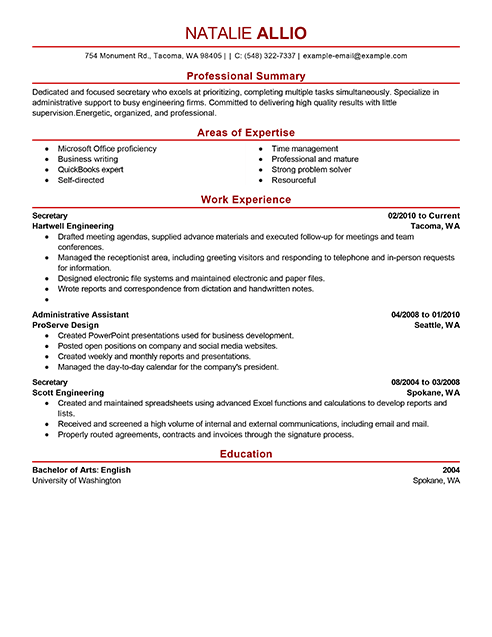 Best Secretary Resume Example From Professional Resume