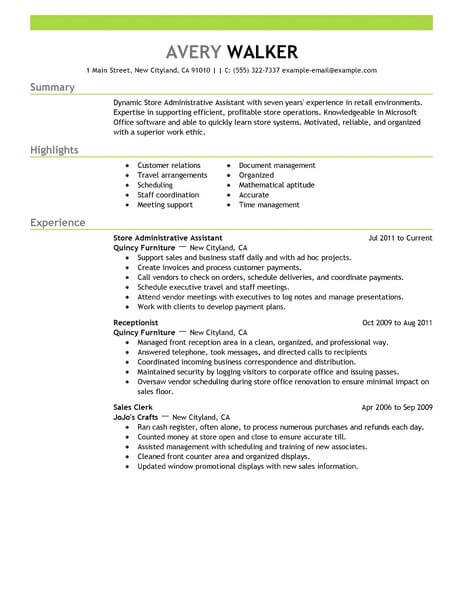 Best Store Administrative Assistant Resume Example From ...