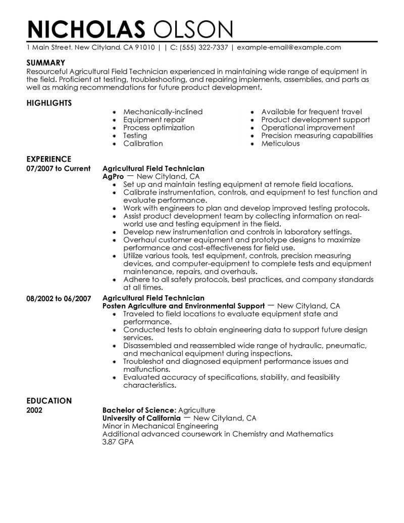 Best Field Technician Resume Example From Professional