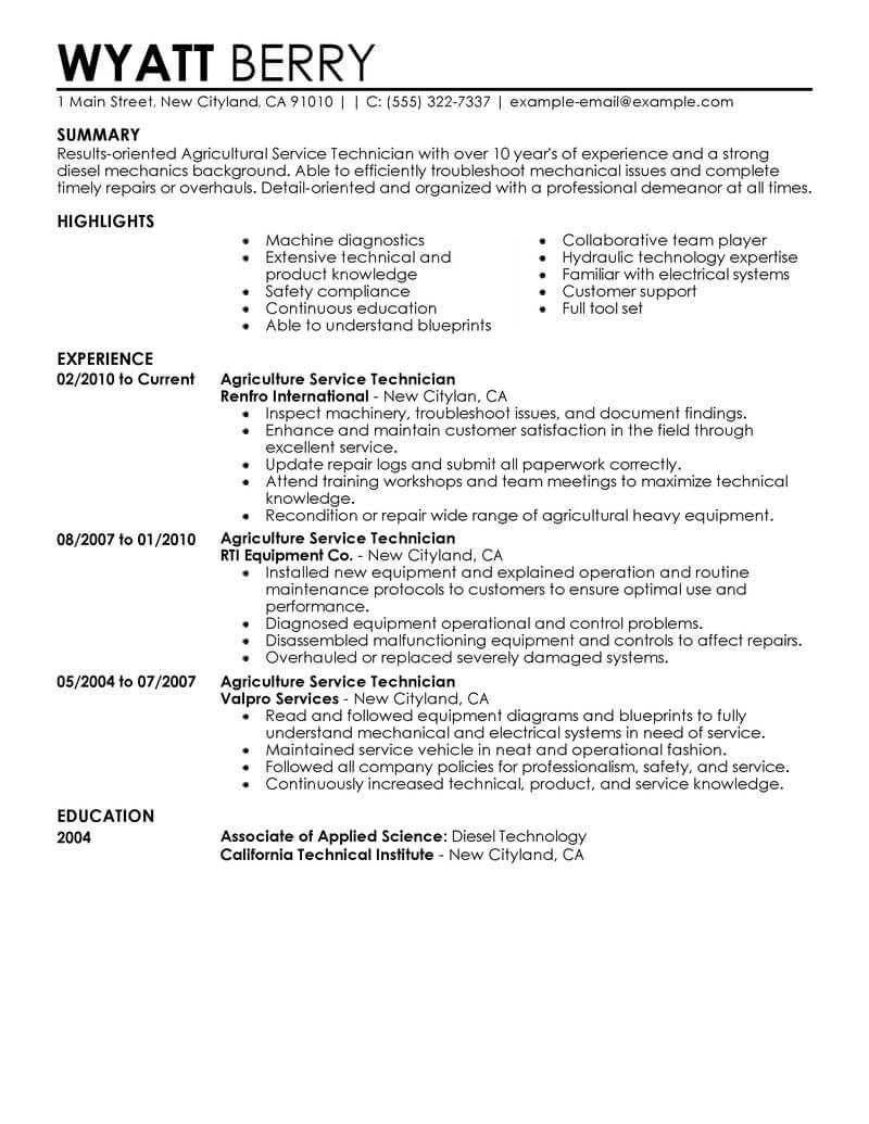 12 Outstanding Agriculture Amp Environment Resume Examples