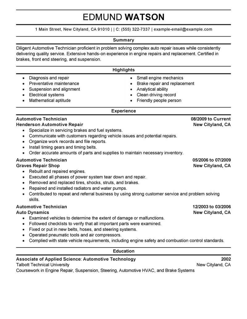 best automotive technician resume example from professional resume writing service