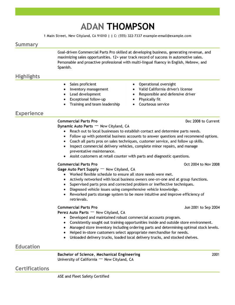 best commercial parts pro resume example from professional