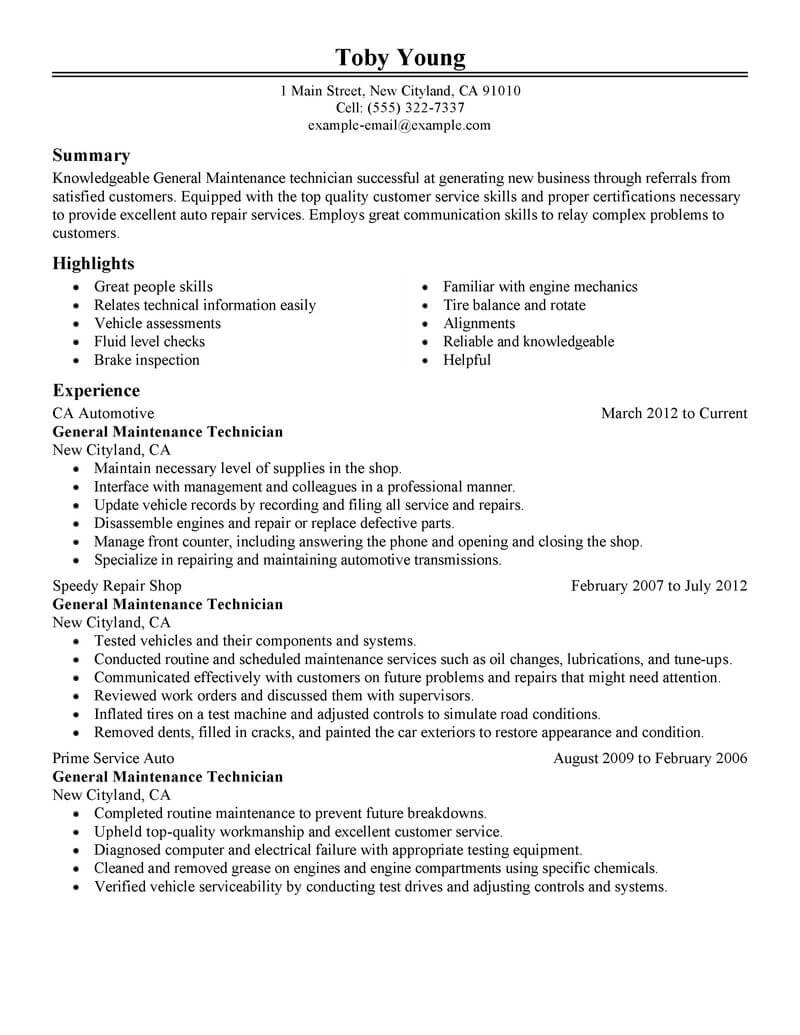 best general maintenance technician resume example from
