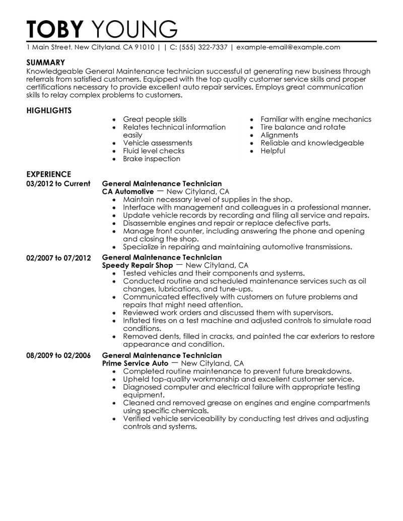 General Maintenance Technician Resume Example
