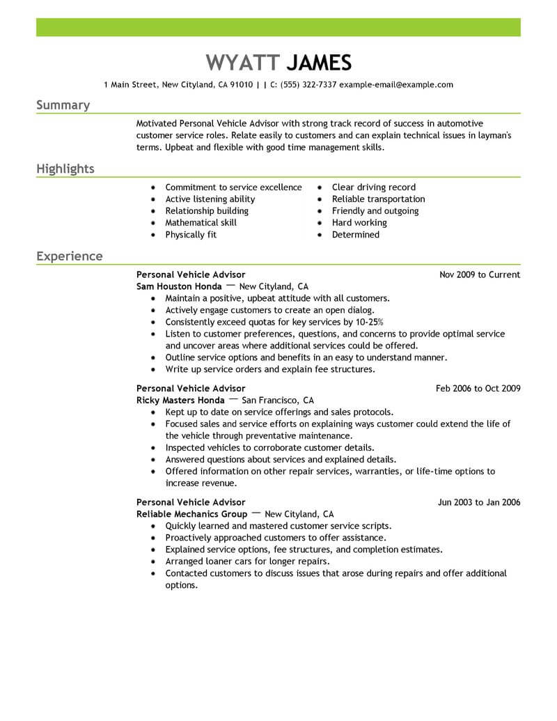 Best Personal Vehicle Advisor Resume Example From