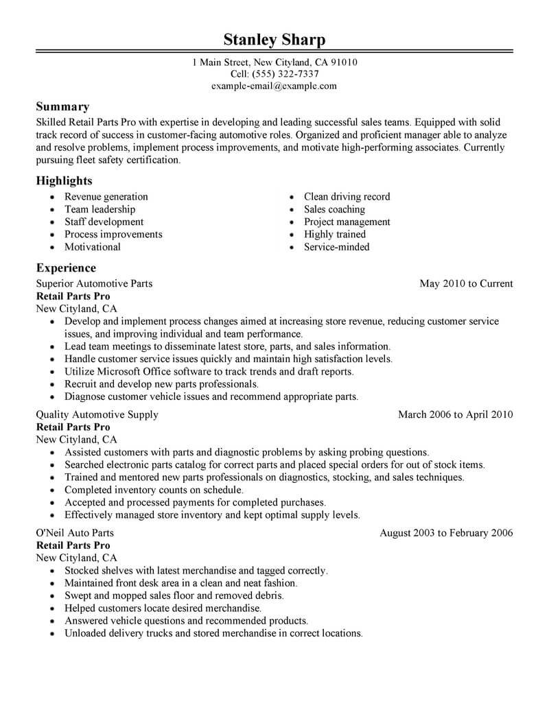 Best Retail Parts Pro Resume Example From Professional Resume - Parts-of-a-resume
