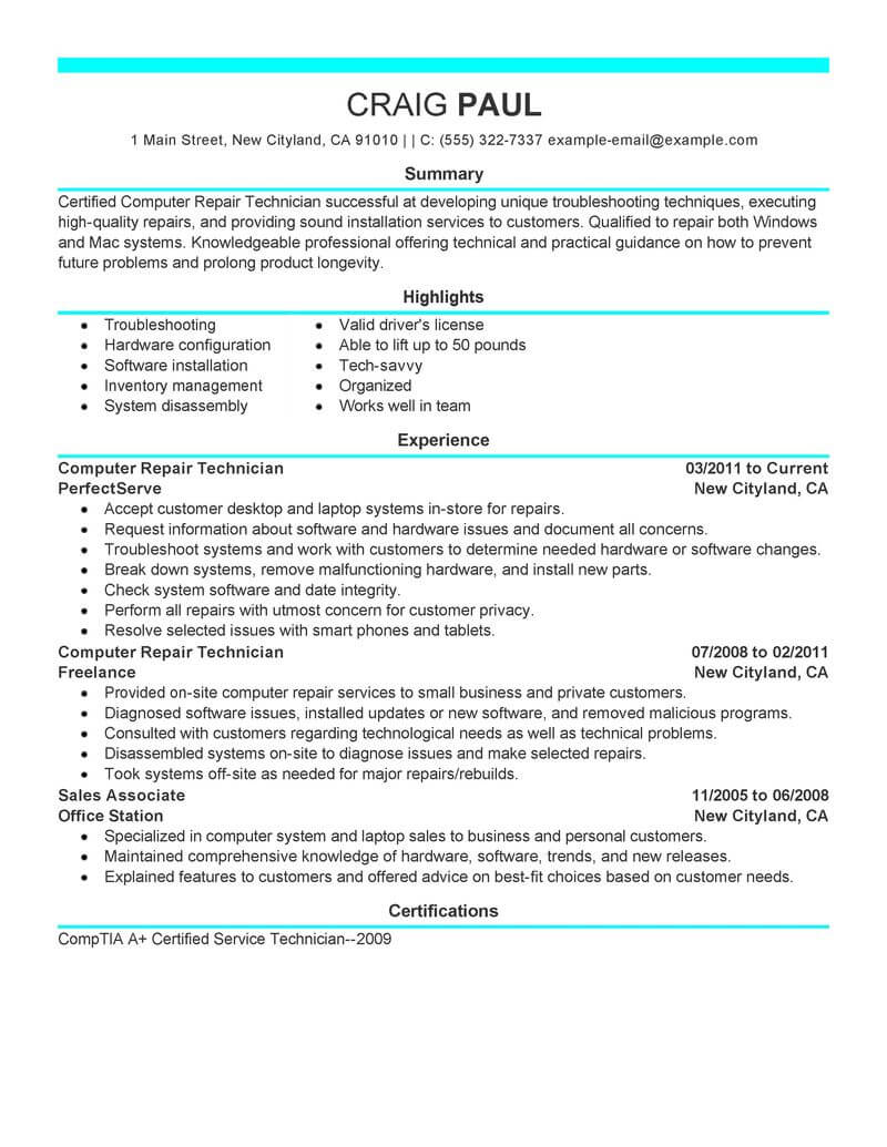 best computer repair technician resume example from