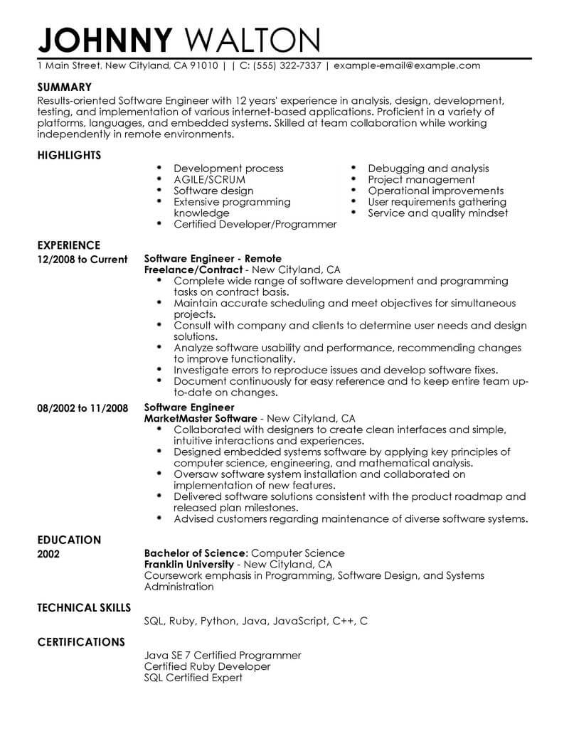 best remote software engineer resume example from