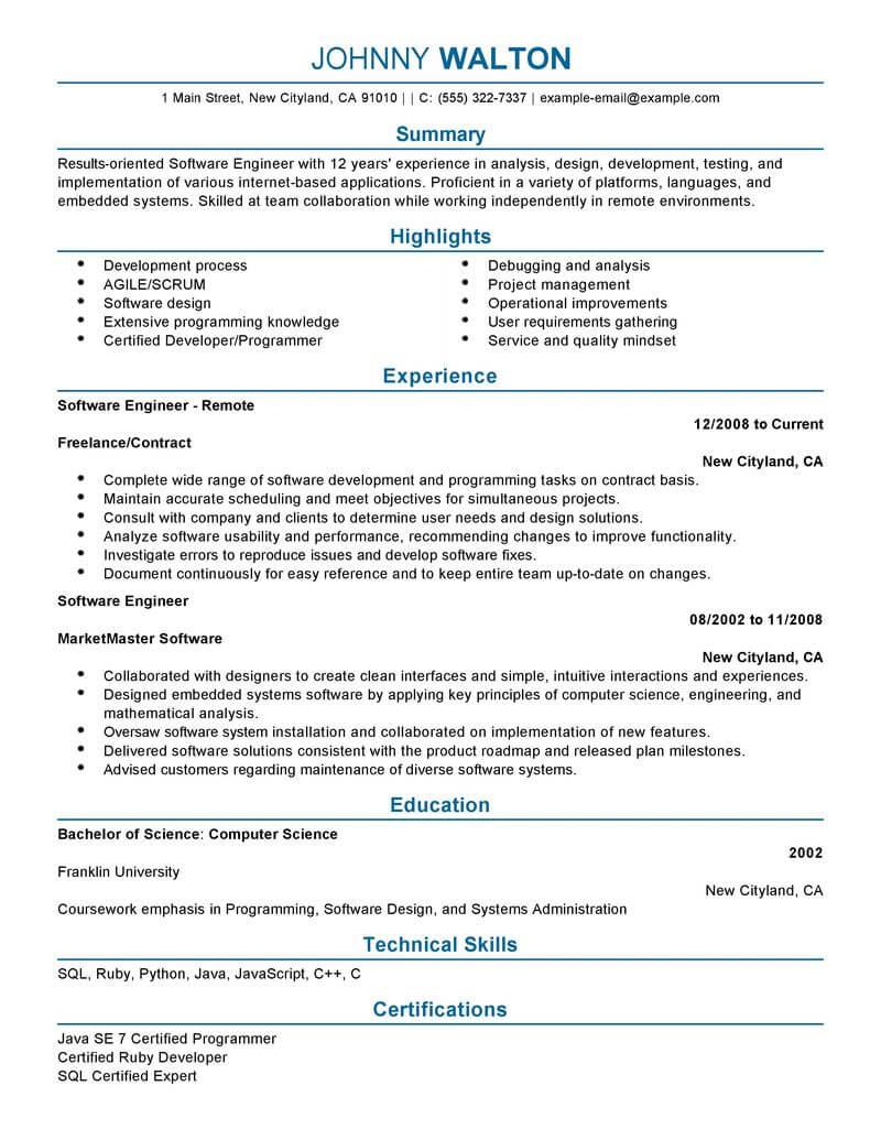 create my resume - Software Engineer Resume