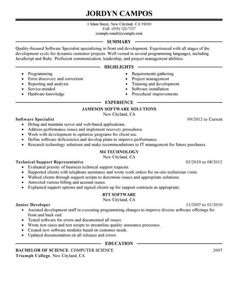 Best Software Specialist Resume Example From Professional