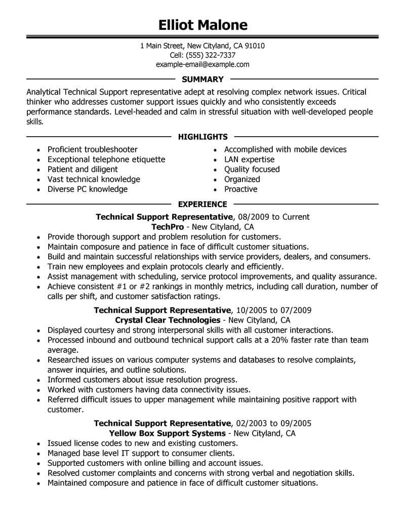 Best Technical Support Resume Example From Professional Resume ...