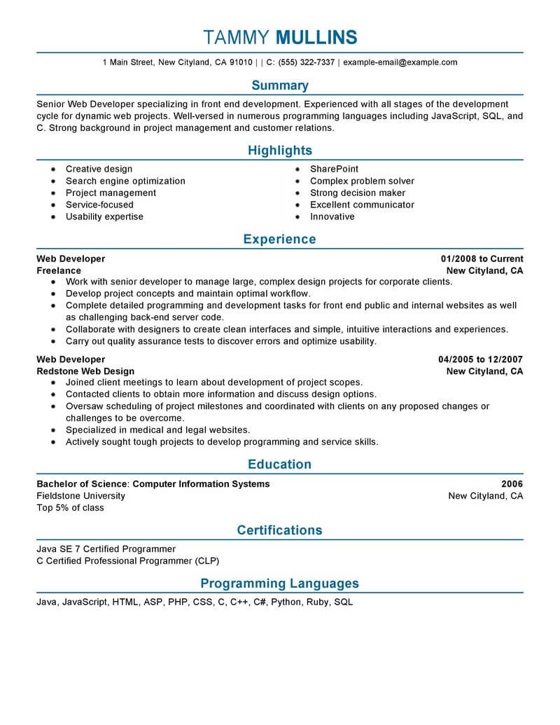 Web Developer Resume Examples | 41 Best Computers Technology Resume Examples Templates From Our