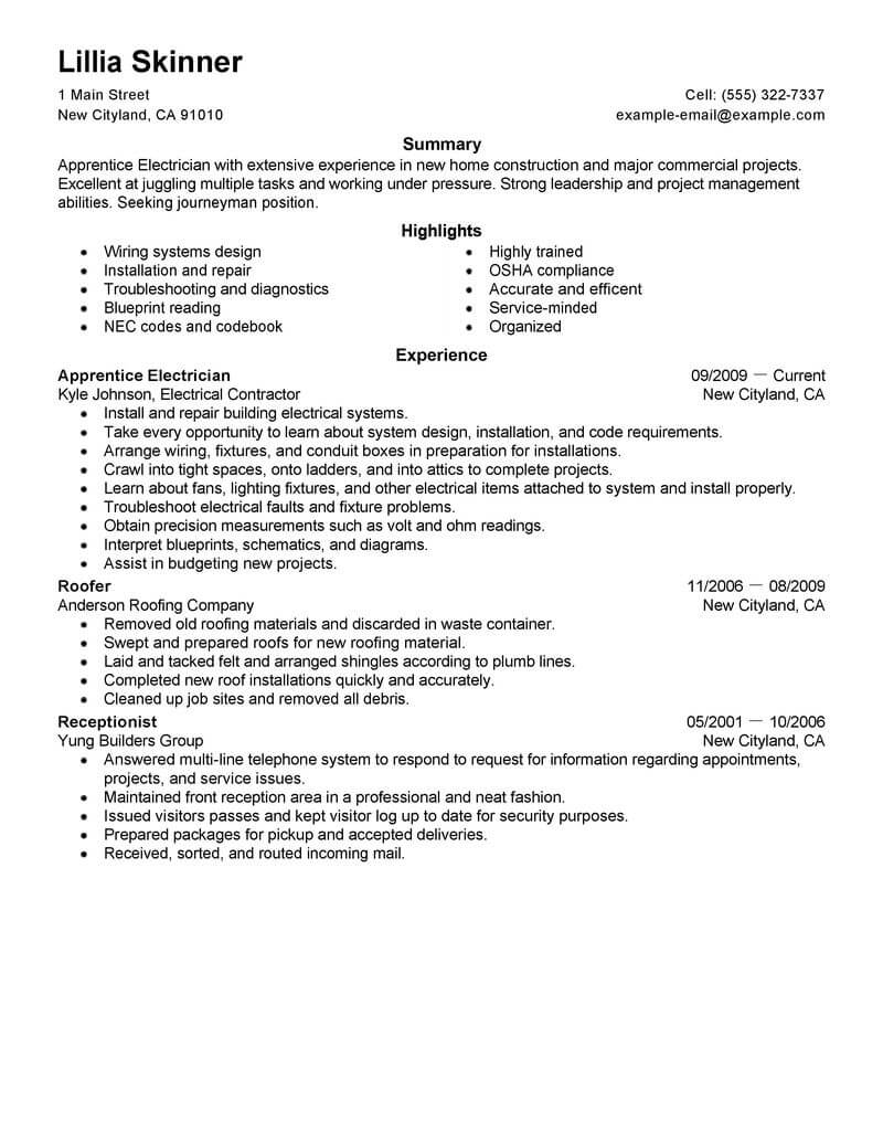 best apprentice electrician resume example from professional resume writing service