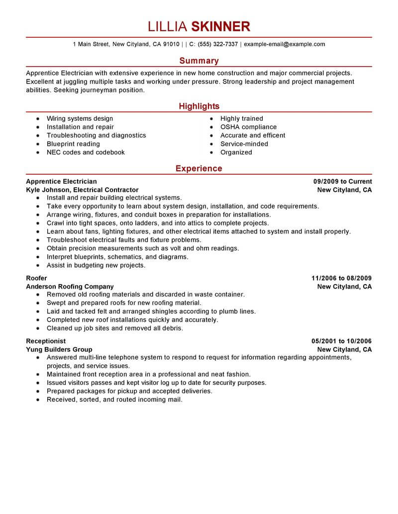 best apprentice electrician resume example from