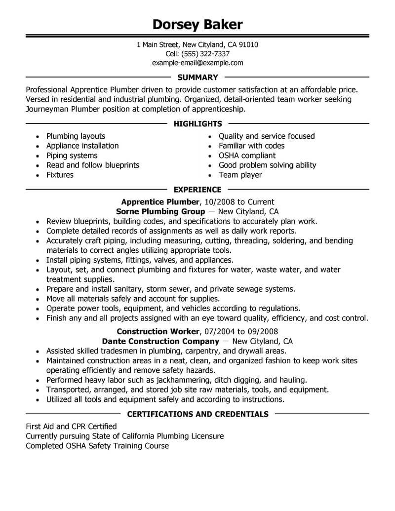 best apprentice plumber resume example from professional