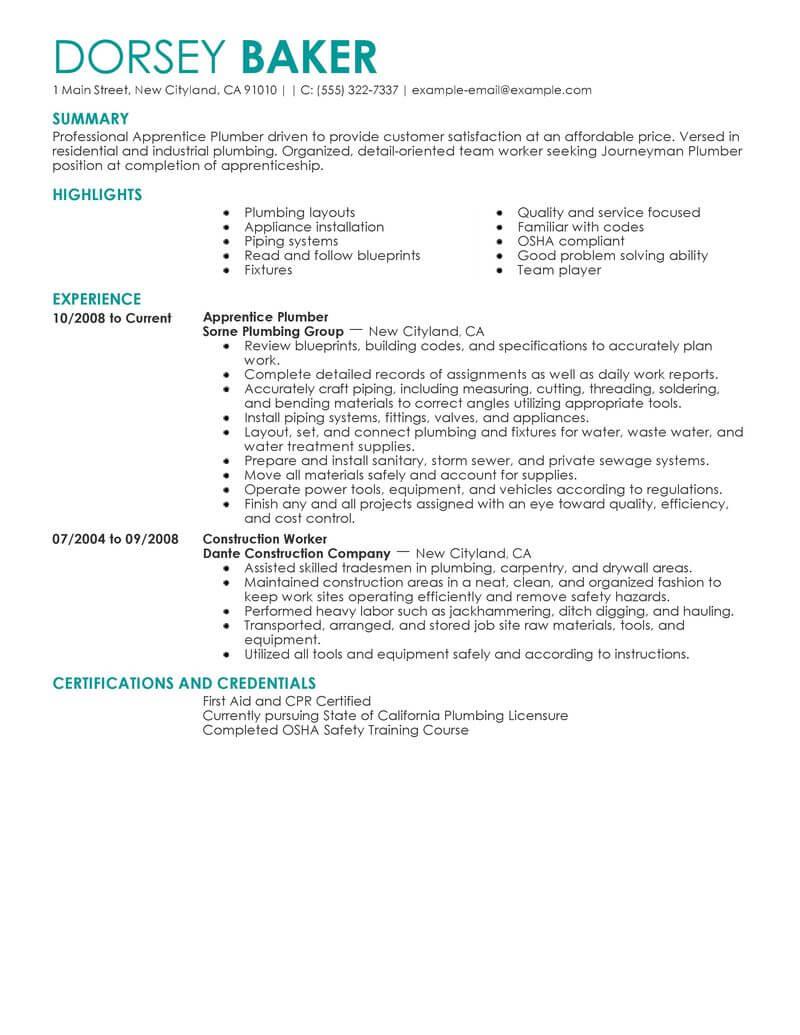 Best Apprentice Plumber Resume