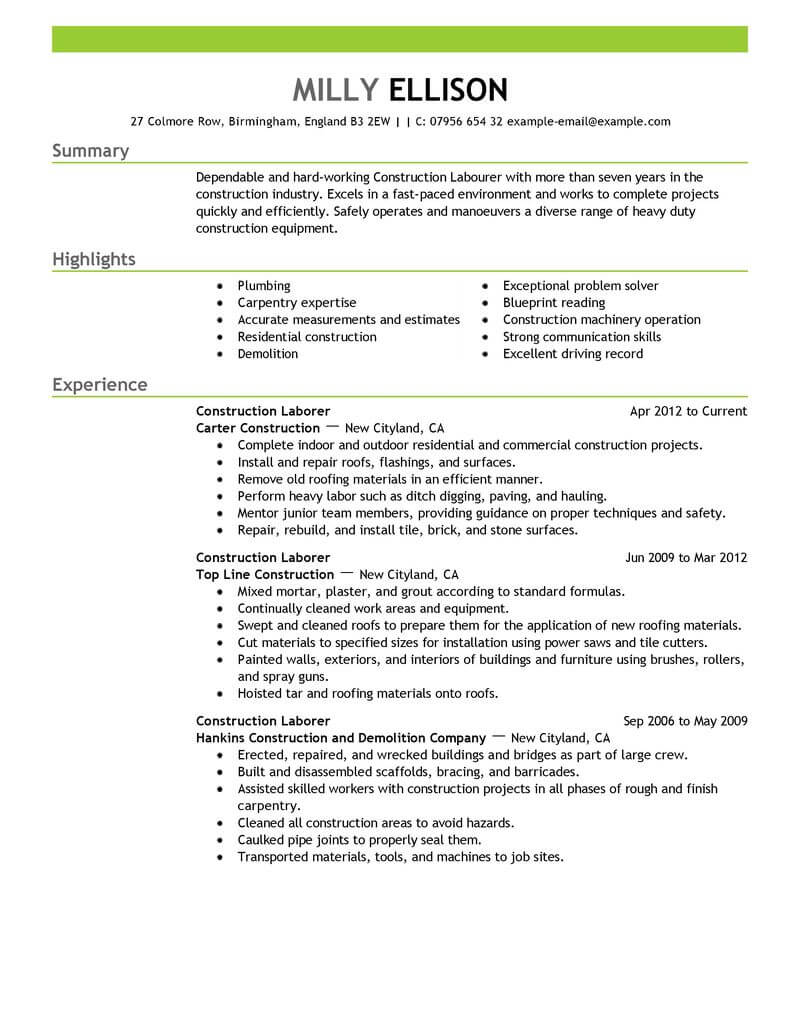 35 Best Construction Resume Examples Amp Templates From