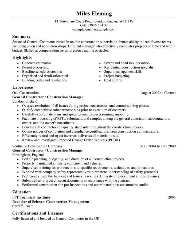 35 best construction resume examples  u0026 templates from
