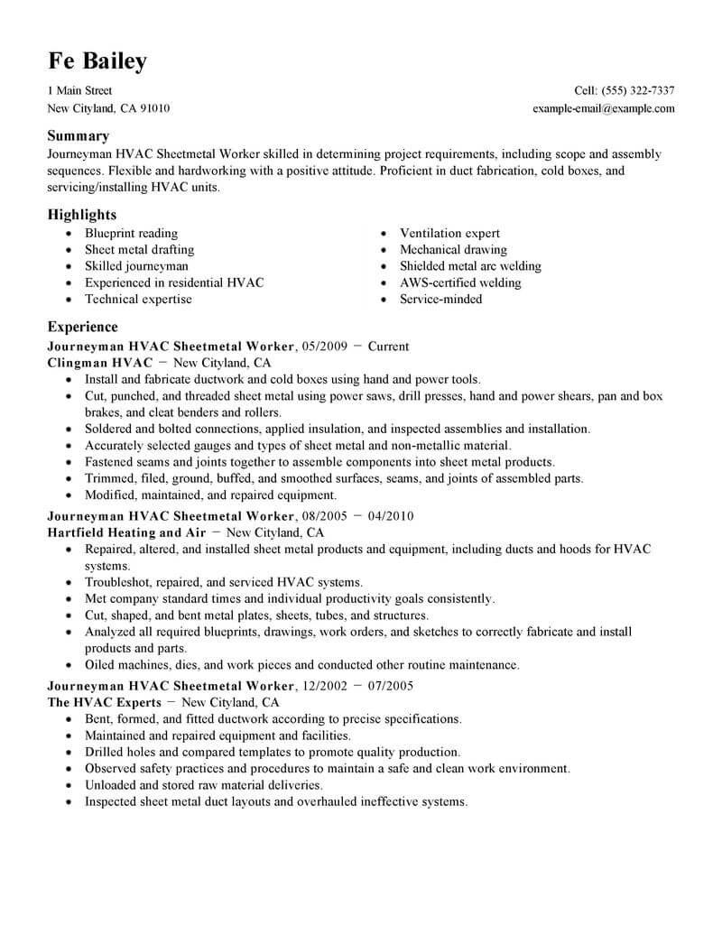 best journeymen hvac sheetmetal workers resume example