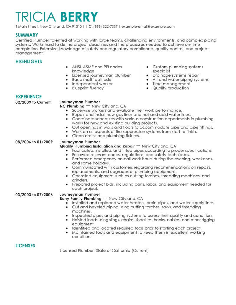 best journeymen plumbers resume example from professional resume writing service