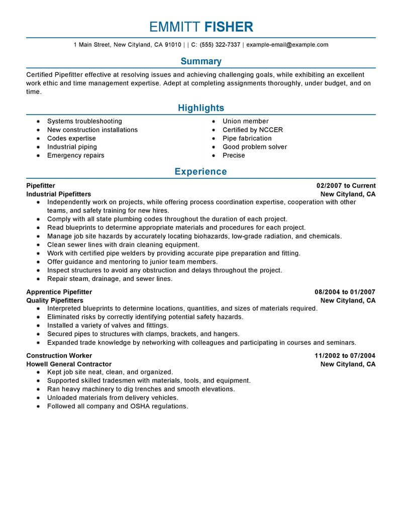 best pipefitter resume example from professional resume