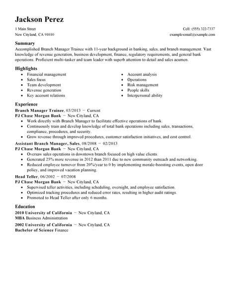 Best Branch Manager Trainee Resume Example From Professional Resume