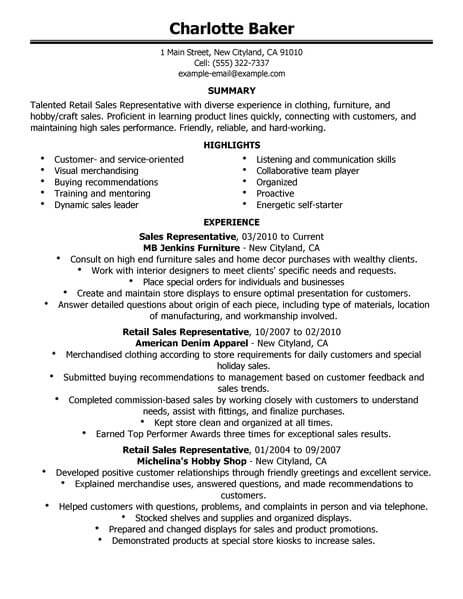 best rep retail sales resume example from professional