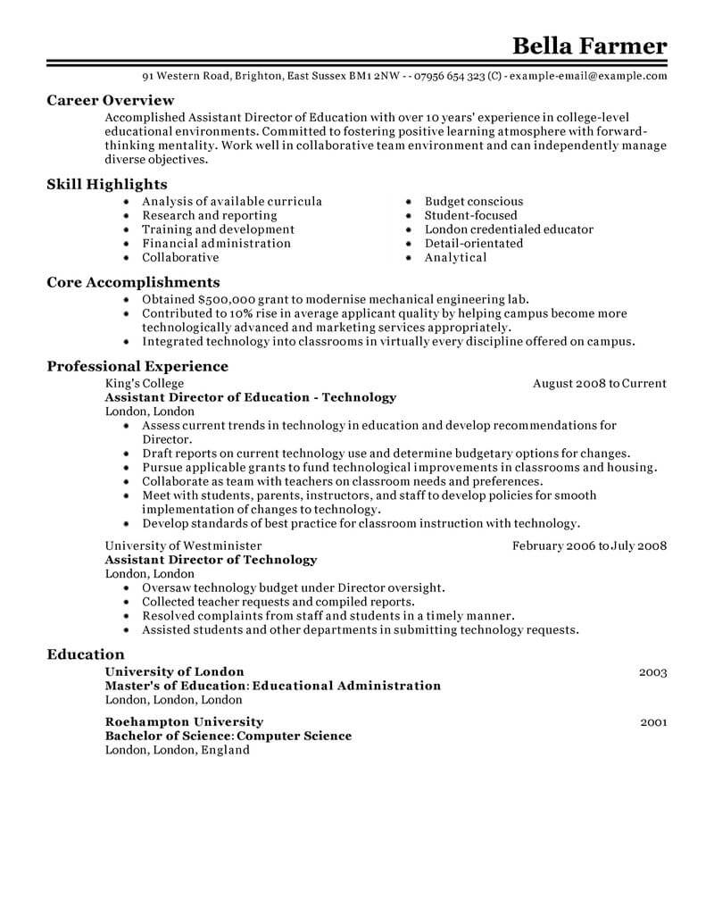 best education assistant director resume example from
