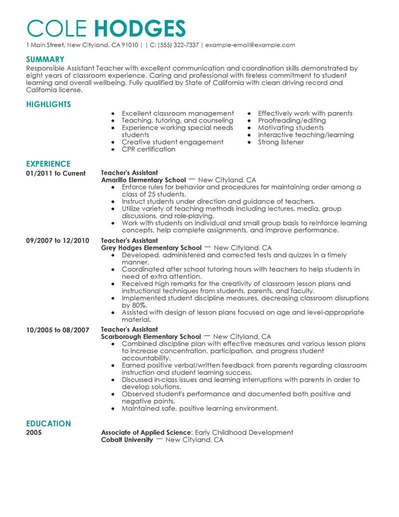 Best Assistant Teacher Resume Example From Professional