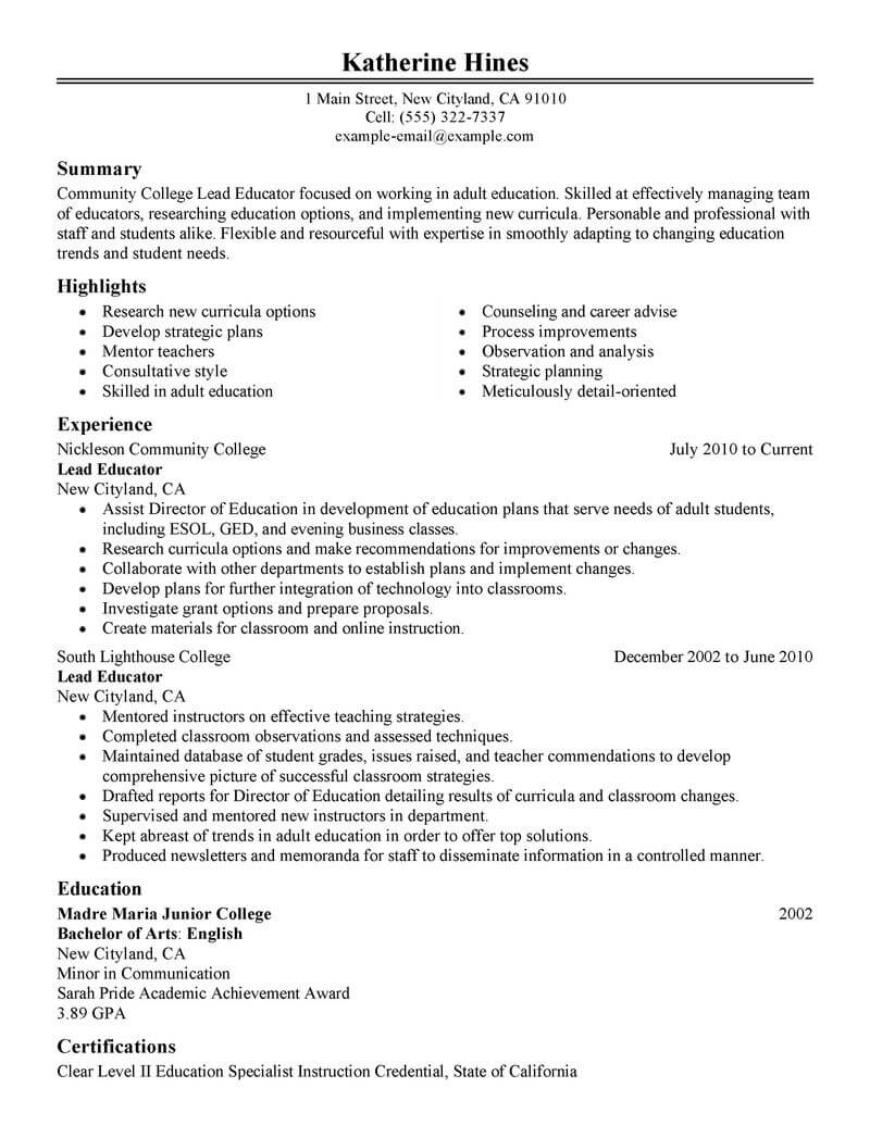 best lead educator resume example from professional resume