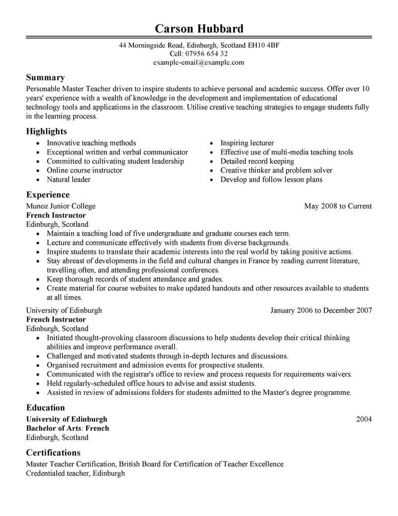 69 Amazing Education Resume Examples Amp Templates From Our