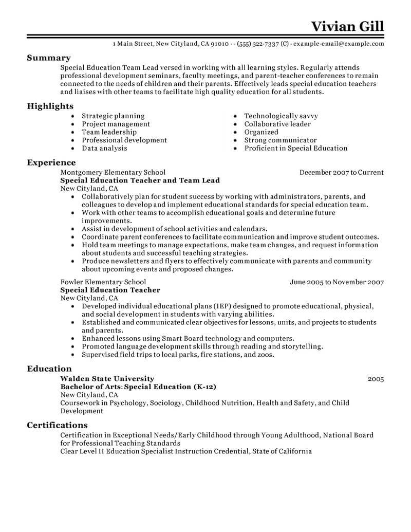 Best Team Lead Resume Example From Professional Resume