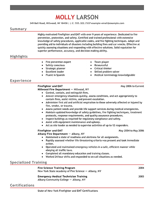 28 outstanding emergency  u0026 services resume examples