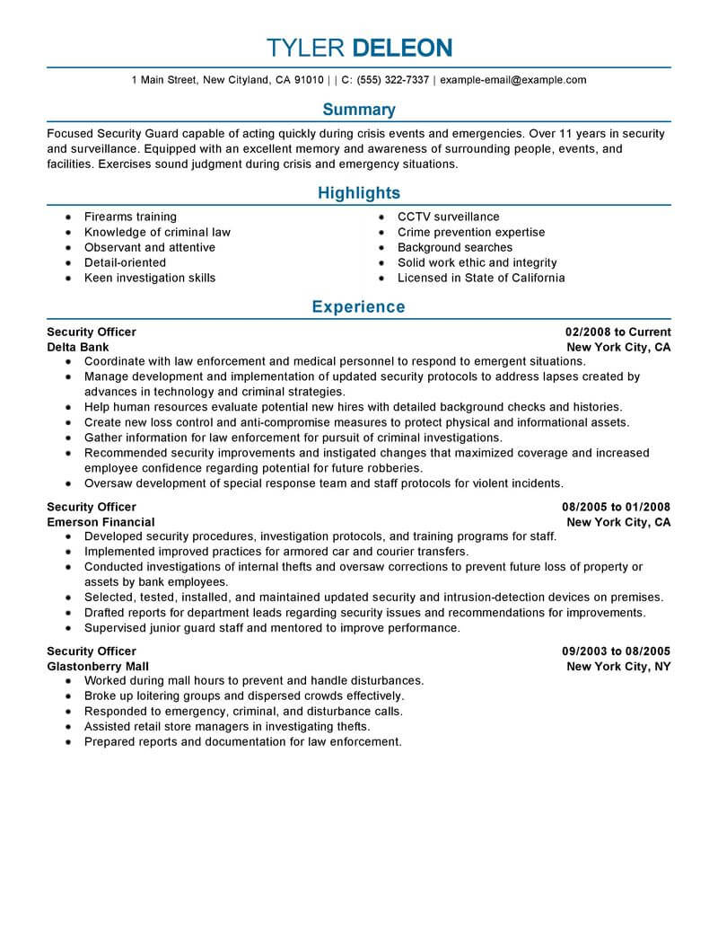 best security officer resume example from professional resume