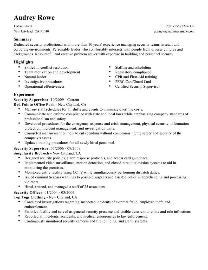 best security supervisor resume example from professional resume writing service