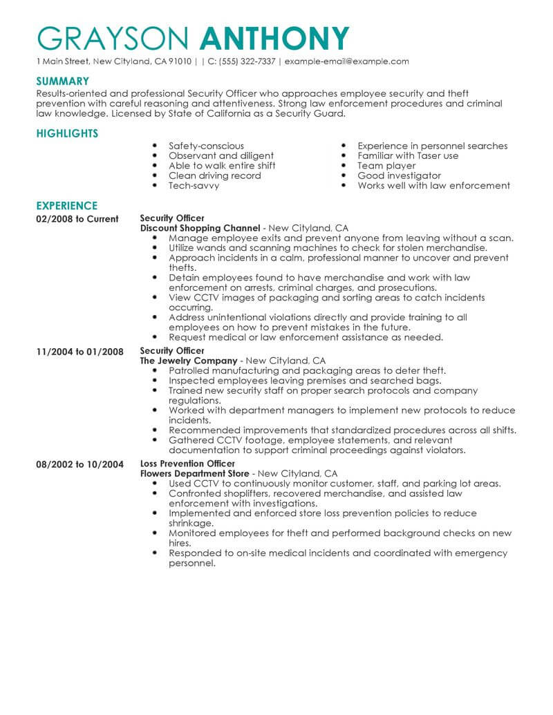 Safety Officer Resume Example October 2020