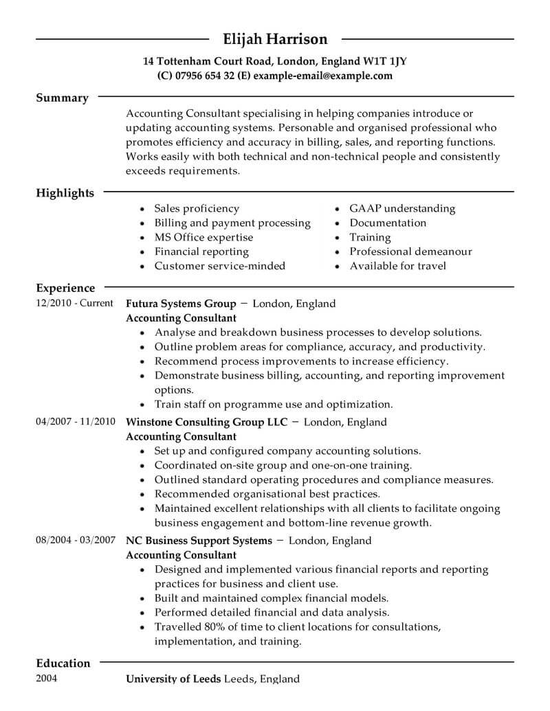 best consultant resume example from professional resume