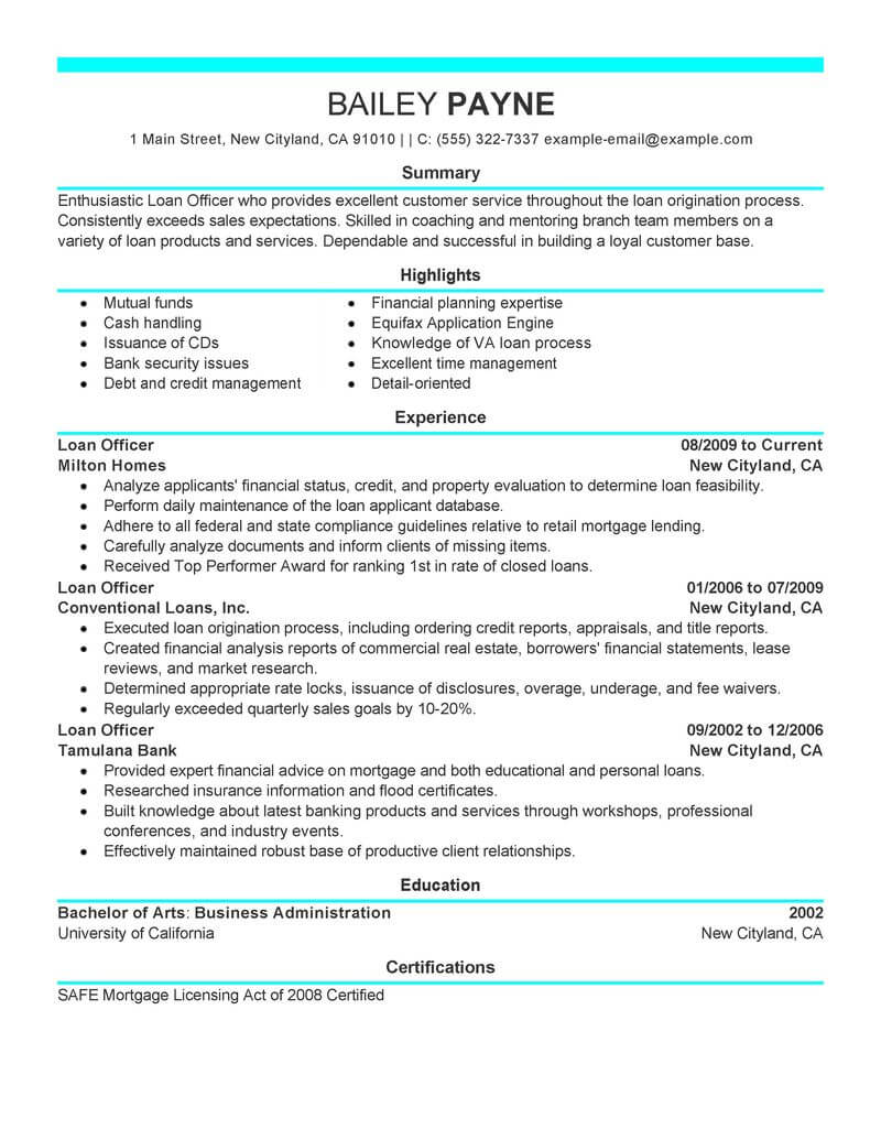 best loan officer resume example from professional resume