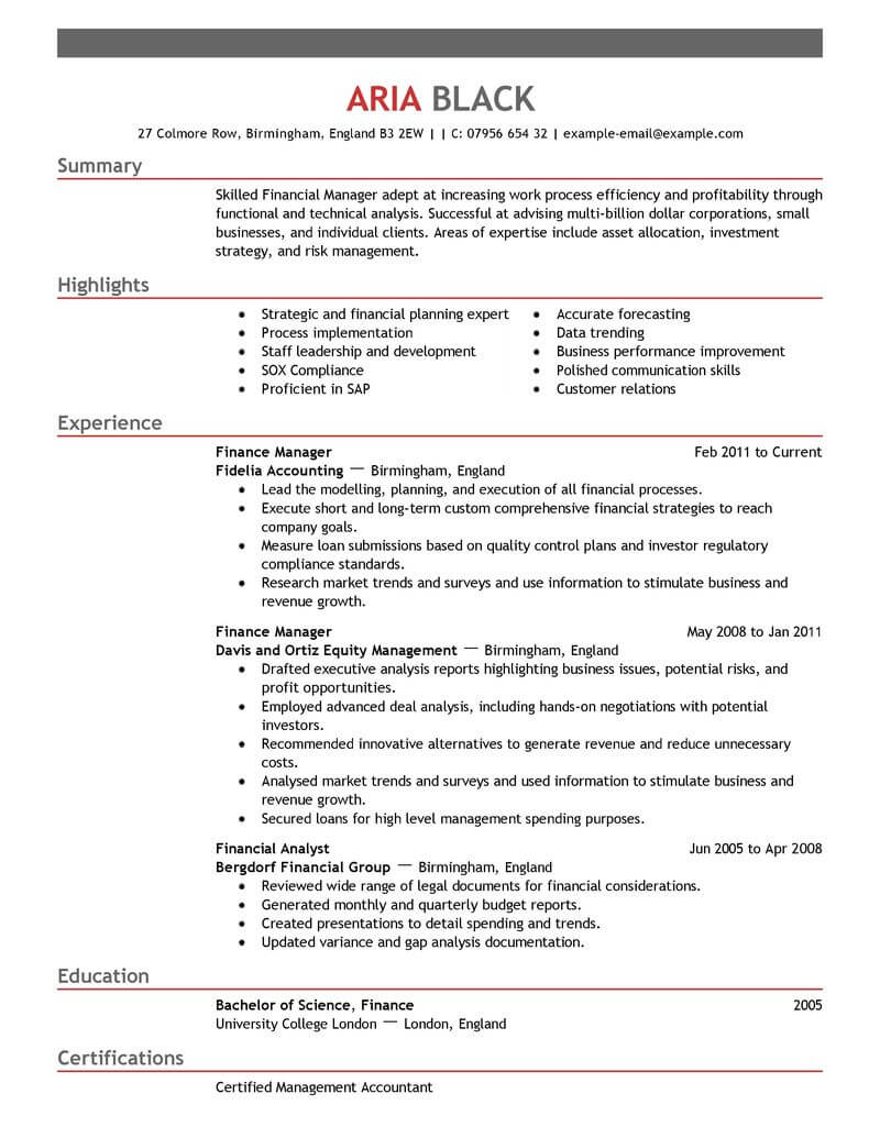 best finance manager resume example from professional